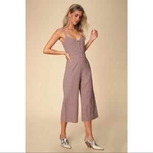 Lulu's Mercedes Dusty Purple Wide-Leg Jumpsuit